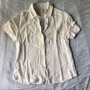 GAP Linen Short Sleeve Button Up Blouse